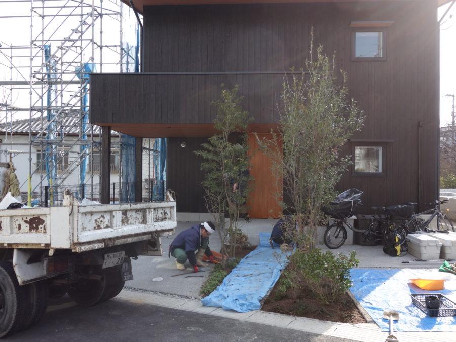 植栽、外構、造園、新築、玄関植栽